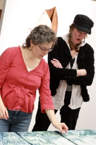 Jeanne Dodds and I consult on hanging Breakup.