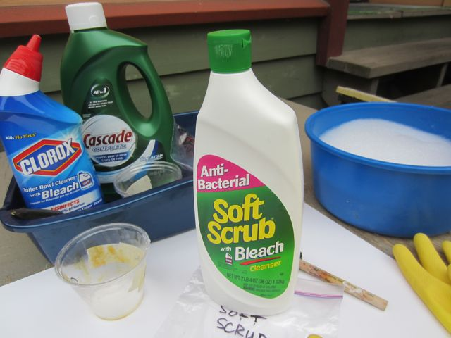 testing househould cleaners as discharge agents