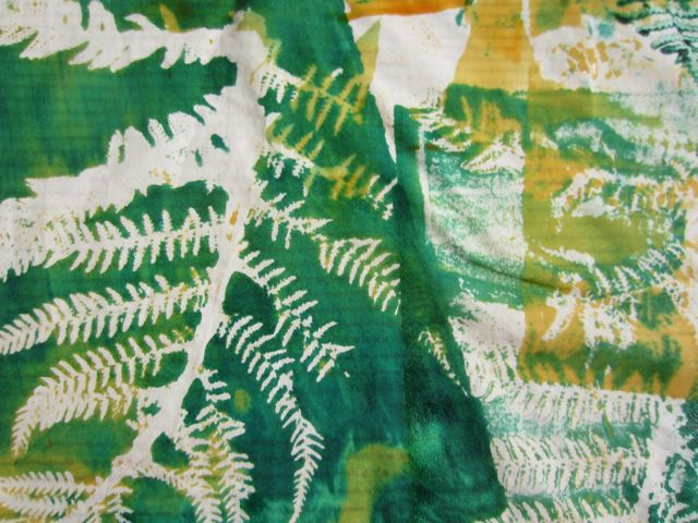 Pat explores using ferns as a resist with the silk screen