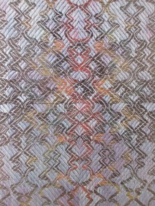 #433 Local Journey: Dawn, Day, Dusk (detail), Janice Lessman-Moss, Linen, paper core, digital jacquard, hand-woven TC2, shifted ikat weft, 2014